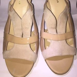 COLE HAAN Nude Suede and Patent Leather Open Toe